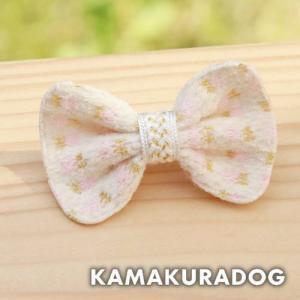 【犬の服】ツイード風リボン(大・プチピン・1個) kamakuradog