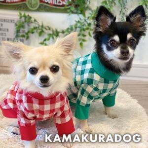 【犬の服】pocket&checkトップス kamakuradog