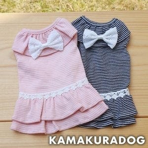 【犬の服】細ボーダー&レースリボンワンピ―ス kamakuradog