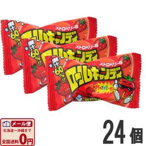 やおきん ロールキャンディ ストロベリー味 (20g)×24個  (お菓子 駄菓子) ゆうパケット便 メール便 送料無料|kamejiro