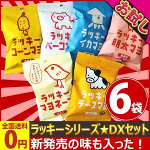 三真 おかきで有名な「ラッキーマヨ」シリーズ 6種類デラックス 合計6袋 詰め合わせセット ゆうパケット便 メール便 送料無料 ポイント消化 お試し 訳あり|kamejiro