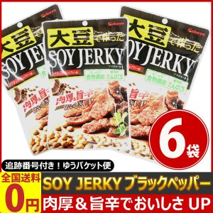 カバヤ SOY JERKY ソイジャーキー ブラックペッパー味 1袋45g×6袋 ゆうパケット便 メール便 送料無料|kamenosuke