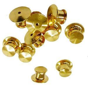 ピンバッジのキャッチ留め具デラックス薄型クラッチ金色10個セット|kameshop