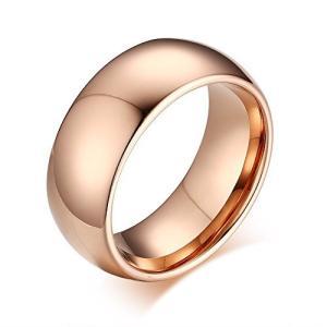 Rockyu ジュエリー アクセサリー メンズ レディース ブランド タングステン リング シンプル 指輪 8mm(ピンクゴールド, 17)|kameshop