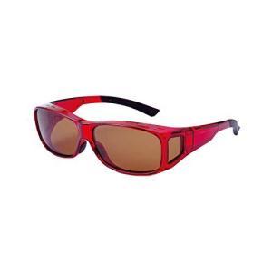 コモライフ 偏光オーバーグラス レッド サングラス UVカット 紫外線カット 男女兼用 メガネの上 kameshop