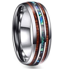 Rockyu ハワイアンジュエリー チタンリング レディースファッション メンズ 指輪 アワビシェル 貝殻 幅広 8mm おしゃれ 男女兼用 (チタン|kameshop