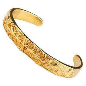 「silverKYASYA」22金仕上げ ゴールド クロスバングル ブレスレット フローラルバングル 22k gp メンズ ステンレスバングル ゴール|kameshop