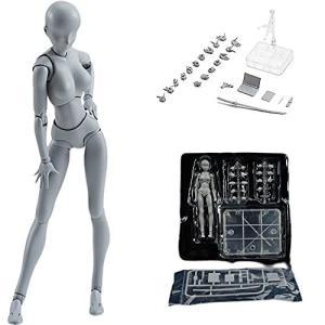 HFI ボディちゃん DX SET デッサン人形 モデル人形 キャラクター イラスト デッサン 作画 練習 女性 模型 ドールタイプ (グレー-女性)|kameshop