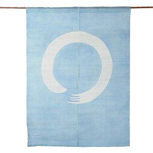 のれん 暖簾 おしゃれ 和風 ロング 麻 夏用 のれん 90×120cmまる 水色|kameya