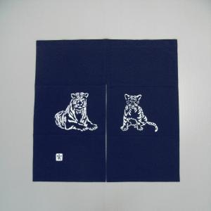 2010手作り干支暖簾(寅/85×85cm/紺色)−寅(虎)の暖簾|kameya