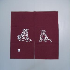 2010手作り干支暖簾(寅/85×85cm/エンジ色)−寅(虎)の暖簾|kameya