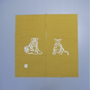 2010手作り干支暖簾(寅/85×85cm/金茶色)−寅(虎)の暖簾|kameya