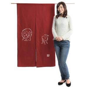 のれん 暖簾 和風 ロング 2015 干支のれん 未年 85×145cm 臙脂 羊|kameya