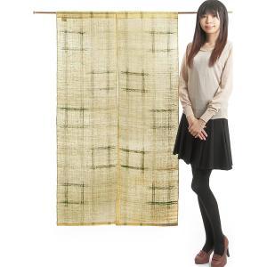 のれん 暖簾 おしゃれ 和風 ロング 麻 夏用 のれん 90×150cm ベージュ 井げた|kameya
