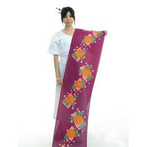 本染浴衣の反物です。高貴な色とされていた紫に、薄紅の四角柄と萱草色のあじさいをデザインしました。透け...