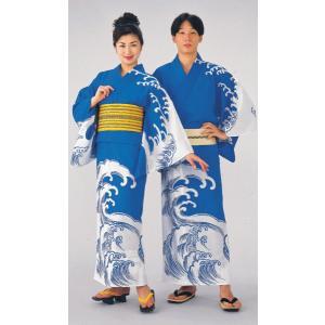 浴衣 ゆかた 反物 レディース メンズ 盆踊り 祭り ユカタ 踊り 絵羽浴衣 地染め ブルー 荒波|kameya