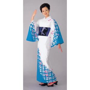浴衣 ゆかた 反物 レディース メンズ 盆踊り 祭り ユカタ 踊り 絵羽浴衣 白 ブルー 格子 桜|kameya
