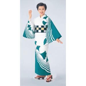 浴衣 ゆかた 反物 レディース メンズ 盆踊り 祭り ユカタ 踊り 絵羽浴衣 変織 波紋 イチョウ|kameya