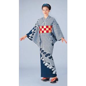 浴衣 ゆかた 反物 レディース メンズ 盆踊り 祭り ユカタ 踊り 絵羽浴衣 混紡 縞 扇面|kameya