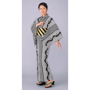 浴衣 ゆかた レディース メンズ 盆踊り 祭り ユカタ 踊り イベント レトロ浴衣 縞 カゴメ 扇子|kameya