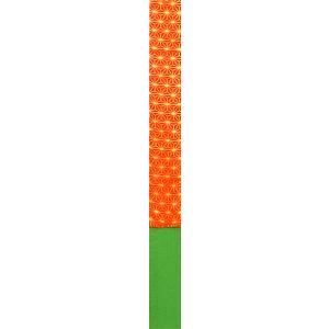 抱え帯 かかえ帯 しごき帯 花嫁衣裳 日本舞踊 七五三 5.5×300cm 朱麻の葉 緑 ラメ|kameya
