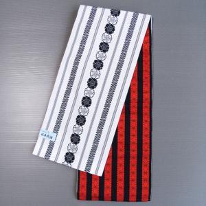 袋帯(幅30cm×長さ480cm・白地に黒八重桜/サビ朱&黒棒縞) 八寸腹合せ帯 踊り帯 日本舞踊 歌舞伎 舞台 ステージ用帯 着物 和装 成人式 舞子帯 kameya