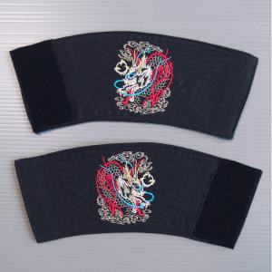 刺繍入り手甲1対(マジックテープ式・竜) 祭り用リストバンド まつりブレスレッド 祭衣装 祭り用品|kameya