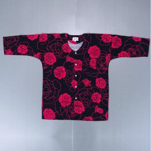 鯉口シャツ 祭り ダボシャツ メンズ レディース 赤バラ 鯉口シャツ 祭り用品|kameya