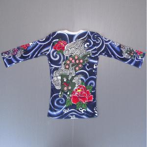 刺青シャツ 入れ墨 シャツ 祭り タトゥー Tシャツ 肉襦袢 唐獅子 牡丹 祭り用品 長袖|kameya
