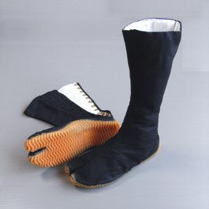 祭りジョグ足袋(黒/12枚小鉤) タフネス仕様のロングタイプ祭り足袋 まつり用カラー足袋 神社 神輿祭り用地下足袋 [特大サイズ(30cm)有り] [nmd-5933]|kameya
