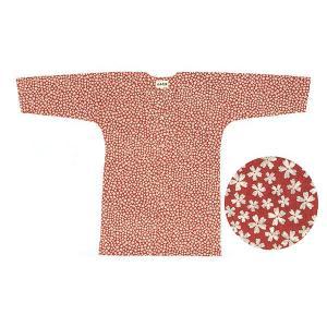 鯉口シャツ 祭り ダボシャツ メンズ レディース 小紋 本染め エンジ 桜 鯉口シャツ 祭り用品|kameya