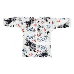 鯉口シャツ 祭り ダボシャツ メンズ レディース 本染め 唐獅子牡丹 鯉口シャツ 祭り用品|kameya