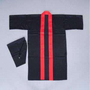 半纏 長 法被 はっぴ メンズ レディース 袢天 よさこい 踊り 祭り 半纏 半天 黒 赤衿|kameya