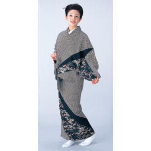 二部式着物(袷仕立上り/パッチワーク・染め疋田・茶や辻) 活動的なセパレート式着物 2部式和装上下 カジュアル和服 旅館 和食店用制服 おもてなし和装|kameya