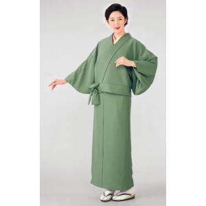 二部式着物(単衣・灰緑) 活動的なセパレート式着物 2部式無地きもの カジュアル和服 旅館 和食店用制服 おもてなし和装|kameya