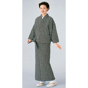 二部式着物(単衣・麻の葉・黒) 活動的なセパレート式着物 2部式和装上下 カジュアル和服 旅館 和食店用制服 おもてなし和装|kameya