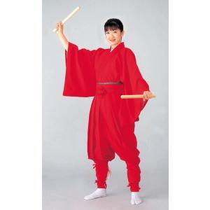 たっつけ袴 2点セット メンズ レディース 袴下着物 祭り 踊り 手古舞 獅子舞 たっつけ袴 赤 kz-7163|kameya