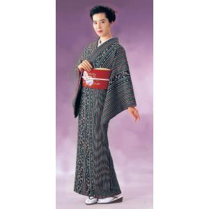 小紋 着物 反物 レディース ちりめん 踊り 舞台 おしゃれ 小紋 三色縞 更紗 洗える着物|kameya