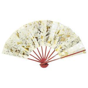 舞扇子(長さ29cm・金銀乱れ箔/朱骨) 日本舞踊扇子 踊り扇子 踊り小道具 舞扇 化粧箱付き舞踊扇|kameya