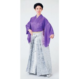 銀襴袴(馬乗り型・波頭) 日舞 詩吟 能楽の舞台 舞踊袴 式典 成人式のはかま 高品位日本製 踊り袴|kameya