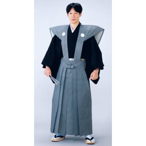 裃 かみしも 節分 豆まき 家紋 納期45日 綿 藍ネズ 鮫小紋 肩衣 袴 時代劇 武者行列|kameya