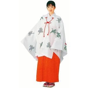千早(鶴と松) 神事/神楽舞用衣裳 みこ仕事着 神社の制服 女官衣裳 (kz) kameya