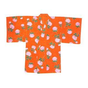 袴下着物 女性 レディース 袴用着物 卒業式 謝恩会 祭り 踊り 手古舞 オレンジ 牡丹|kameya