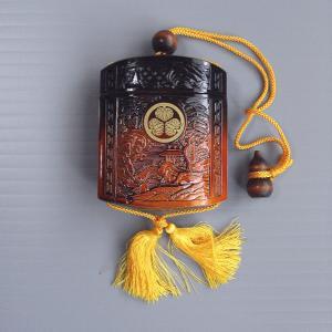 印籠 いんろう 薬籠 印籠巾着 葵の御紋 時代劇 芝居 祭り 小道具 踊り 茶 プラ|kameya