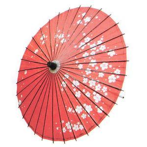 柄紙傘(直径84cm×柄の長さ82cm・お稽古用・赤・梅) 踊り傘 舞踊傘 舞台用舞傘 ステージ用紙傘 日舞・歌舞伎用傘 舞踊小道具 和傘 kameya