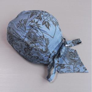 バンダナキャップ(水色/唐獅子牡丹) おしゃれな祭用布帽子 ヘアーキャップ 祭小物 まつり頭巾 祭り用品|kameya