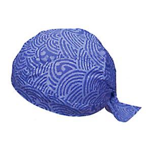 バンダナキャップ(ブルー・青海波) おしゃれな祭用布帽子 ヘアーキャップ 祭小物 まつり頭巾 祭り用品|kameya