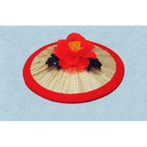 花笠 祭り まつり 音頭 小道具 花笠踊り 祭り用品 赤広巻 花一輪|kameya