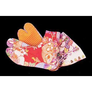 地下足袋(古典古布柄・赤地) まつり用柄足袋 神社 神輿 山車 市民祭り用地下足袋 ビビッド足袋 祭り用品|kameya