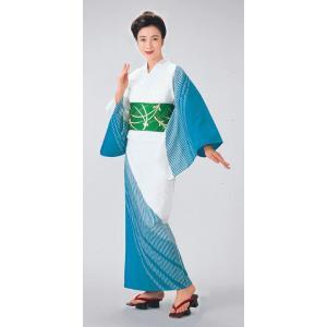 浴衣 ゆかた 反物 レディース メンズ 盆踊り 祭り ユカタ 踊り 絵羽浴衣 ブルー 線 ぼかし|kameya